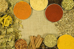 Herbs and spices on hessian background. Herbs and spices on hessian cloth background royalty free stock photo