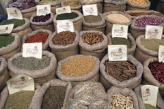 Herbs Spices Jerusalem. Herbs and spices are seen in a street market in Jerusalem city center Royalty Free Stock Photo