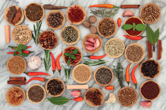 Herbs and Spices on Marble Stock Images