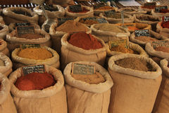 Herbs and spices. At a market in the Provence stock photo