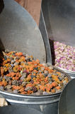 Herbs and spices at Moroccan market. Basket full of multicolored herbs Royalty Free Stock Image