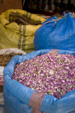 Herbs and spices at Moroccan market. Basket full of multicolored herbs Royalty Free Stock Photo