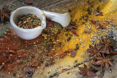 Herbs and spices - mortar and pestle Royalty Free Stock Image