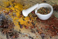 Herbs and spices - mortar and pestle Royalty Free Stock Images