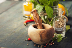 Herbs and spices with Mortar and Pestle Royalty Free Stock Image