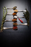 Herbs and spices with old metal spoons on a black background Stock Image