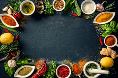 Herbs and spices over black stone background Stock Images
