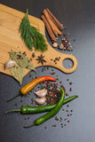 Herbs and spices over black stone background Royalty Free Stock Photos