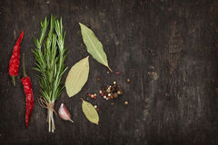 Herbs and spices. Over old wood table background with copy space royalty free stock photography