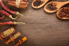 Herbs and Spices. Over wooden background stock photo