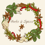 Herbs And Spices Round Frame Stock Photo
