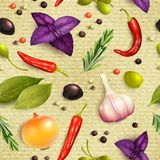 Herbs and spices seamless pattern Royalty Free Stock Photography