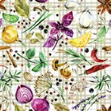Herbs and spices seamless pattern. watercolor botanical illustration Stock Illustration