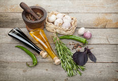 Herbs, spices and seasoning Royalty Free Stock Image