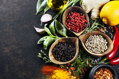 Herbs and spices selection stock photography