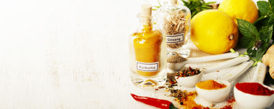 Herbs and spices selection, close up Stock Photos