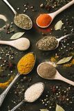Herbs and spices selection, close up royalty free stock images