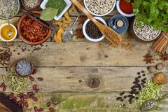 Herbs and Spices - Space for Text Royalty Free Stock Photo