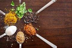 Herbs and spices on spoons - wooden table top lay flat image stock photography