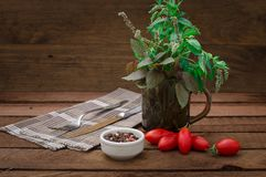 Herbs, spices and tomatoes on dark background. Vegetarian concept. Wooden rustic background. Top view royalty free stock images