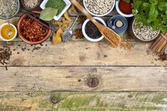 Herbs and Spices - Space for text Stock Photo