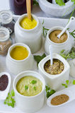 Herbs and Spices. Variety of Mustards. Stock Photos