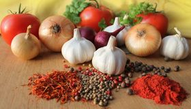 Herbs, spices and vegetables Royalty Free Stock Image