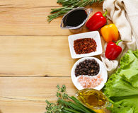 Herbs and spices, vegetables and sauces Stock Photos