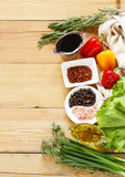 Herbs and spices, vegetables and sauces Royalty Free Stock Image