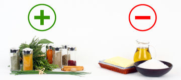Herbs and spices versus fats and oils Stock Photos