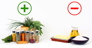 Herbs and spices versus fats and oils Royalty Free Stock Photo
