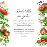 Herbs and spices. Watercolor background. And template Vector Illustration
