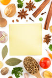 Herbs and spices on white Stock Photography