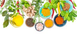 Herbs spices Curry turmeric ginger rosemary Healthy organic food. Herbs and spices on white table background. Curry, turmeric, ginger, rosemary, basil, mint royalty free stock photo