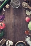 Herbs and spices on wood background. Herbs and spices on wooden background Stock Photo