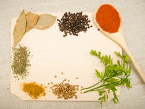 Herbs and spices on wood Stock Images