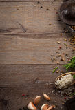 Herbs and spices on wood table Royalty Free Stock Images