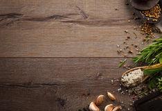Herbs and spices on wood table Stock Photo