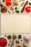 Herbs and spices on wood Royalty Free Stock Images