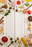 Herbs and spices on wood Stock Image