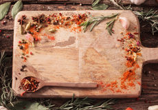 Herbs and spices on  wooden background Royalty Free Stock Photography