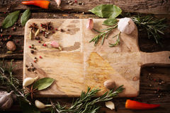Herbs and spices on  wooden background Stock Photos