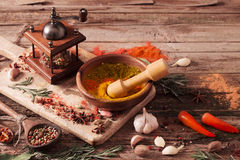 Herbs and spices on  wooden background Royalty Free Stock Image