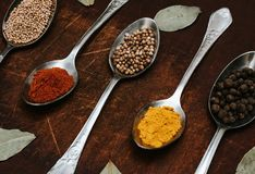 The herbs and spices on a wooden background stock photo