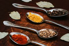 The herbs and spices on a wooden background royalty free stock photo