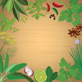 Herbs and spices on wooden board background. Herbs and spices, herbs, spices, wood background, wooden board, board, lime, lemon, red onion, kaffir lime leaf Stock Image