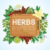 Herbs and spices with wooden chopping board Royalty Free Stock Images
