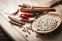 Herbs and spices on wooden Royalty Free Stock Images