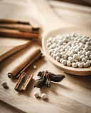 Herbs and spices on wooden Stock Image
