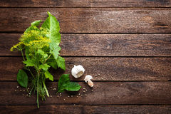 Herbs and spices on wooden culinary background, ingredients for cooking, top view, space for text Royalty Free Stock Image
